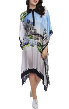 Sky blue & white printed kaftan dress