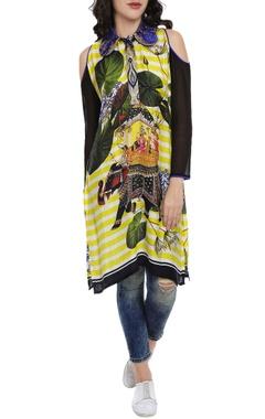 Black & white motif printed kaftan dress
