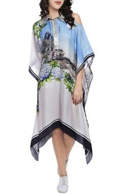 Sky blue & grey printed kaftan dress