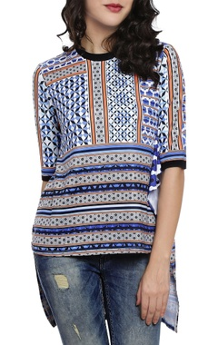 Multi-colored printed high low kurti