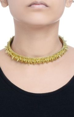 gold choker with spikes & chains