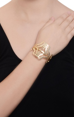 gold plated laser cutwork designed cuff
