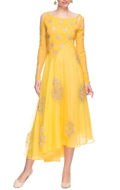 Yellow cold shoulder dress with gold embellishments