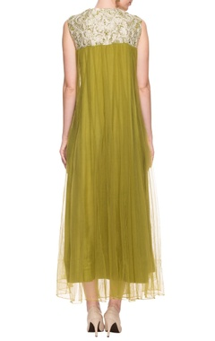 Olive green dress with thread embroidery