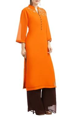 light orange & brown floral embroidered kurta set