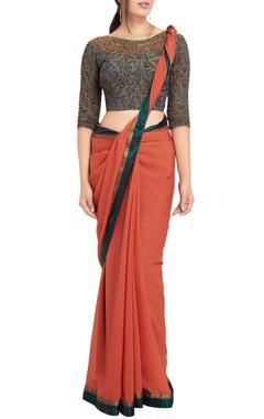 Rust orange sari & grey kalamkari beadwork blouse