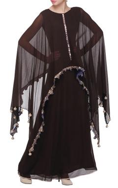 Dark brown cape maxi dress