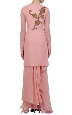 Pastel pink wrap kurta & skirt