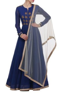 Cobalt blue anarkali dress with dupatta
