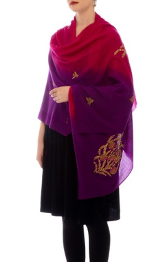 Pink & purple shaded cashmere stole
