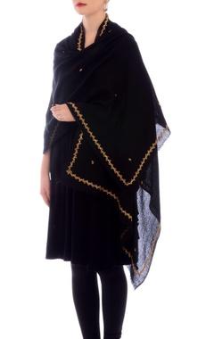 Black sequin work cashmere stole
