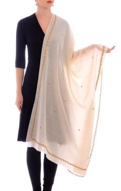 Off-white sequin work cashmere stole