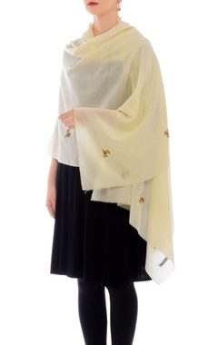 Off-white zardozi work cashmere stole