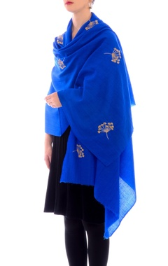 electric blue aari work cashmere stole