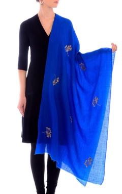 Electric blue aari work cashmere stole