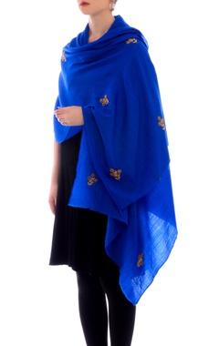 royal blue resham work cashmere stole