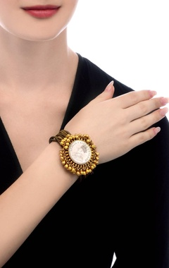 Bronze & gold plated bracelet with vintage coin & ghungroos