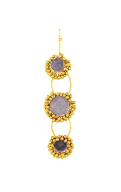 Mine Of Design Gold plated tri-layered maangtika with ghungroos