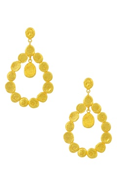 Gold plated beaten dangler earrings