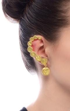Gold plated beaten ear cuffs