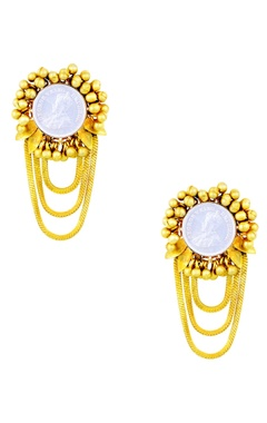 Mine Of Design Gold plated earrings with vintage coin & ghungroos