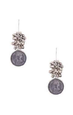 Mine Of Design Silver plated drop earrings with ghungroos & coin