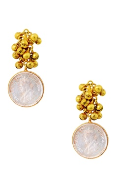 Mine Of Design Gold plated earrings with ghungroos & vintage coin