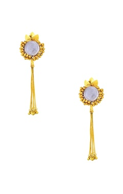 Gold plated drop earrings with ghungroos & tassels