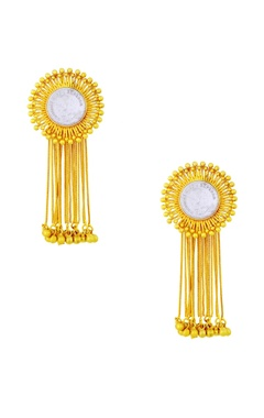 gold plated danglers with vintage coin & tassels