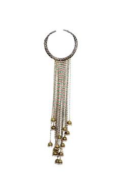 Mine Of Design Bronze choker with long jhumkas tassels
