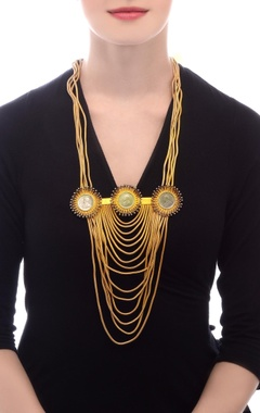Gold plated statement necklace with vintage coins