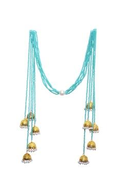 Mine Of Design Mint blue beaded long jhumka tassel necklace