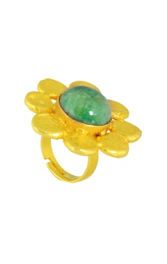 Mine Of Design Gold plated beaten ring with green semi-precious stone