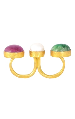 Mine Of Design Gold plated two finger ring with semi-precious stones