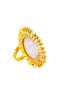 Mine Of Design Gold plated spiked ring with vintage coin