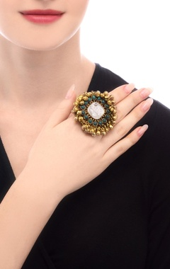 gold plated ring with ghungroos & semi-precious stones