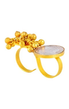 Mine Of Design Gold plated ring with ghungroos & coin