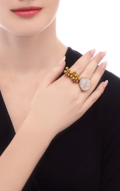 Gold plated ring with ghungroos & coin