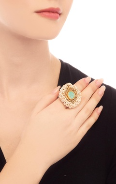 gold plated ring with turquoise stone & filigree cutwork