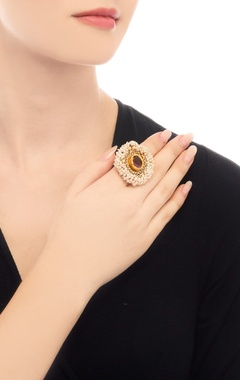 Gold plated ring with amethyst stone