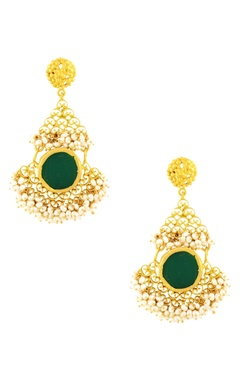 gold plated danglers with green onyx
