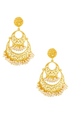 gold plated double layered cutwork earrings
