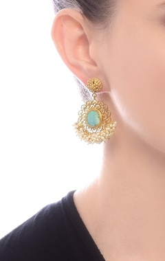 gold plated filigree danglers with turquoise stud