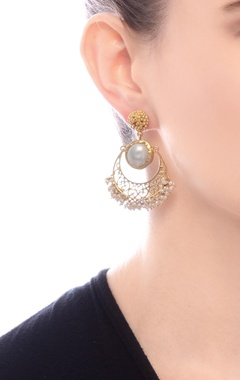 gold plated danglers with pearl stud