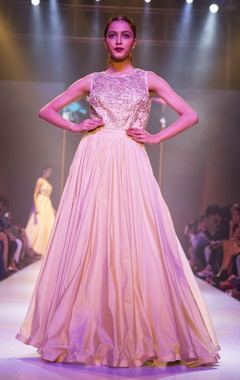 Beige gold embellished sheer back gown
