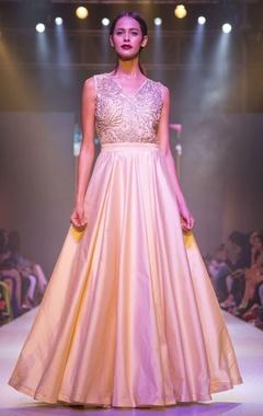 Beige gold embellished gown