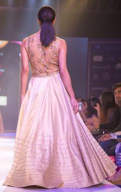 Beige & gold embellished gown