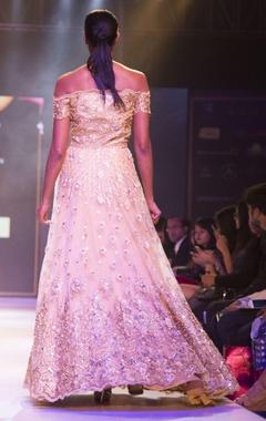 Gold off-shoulder embellished gown