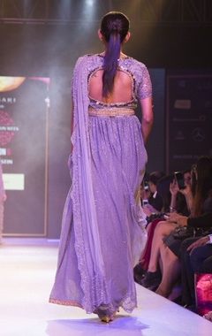 Grey embellished draped gown with belt