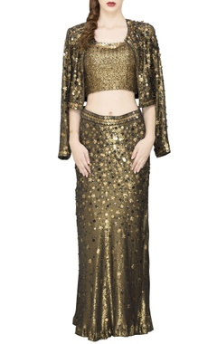 copper sequin crop top & skirt with a shrug
